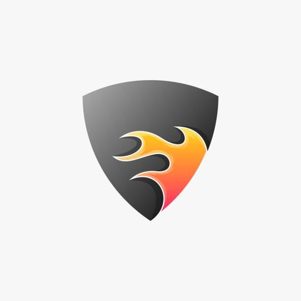 illustrazioni stock, clip art, cartoni animati e icone di tendenza di illustrazione vettoriale scudo fuoco gradiente stile colorato. - sfera lucida
