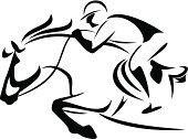 Vector illustration showcasing a horse jumping