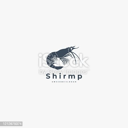 Vector Illustration shrimp Silhouette Style.