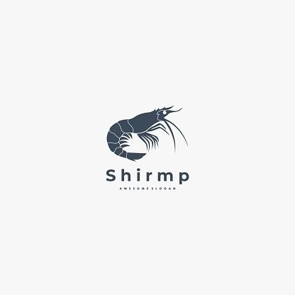 Vector Illustration shrimp Silhouette Style.