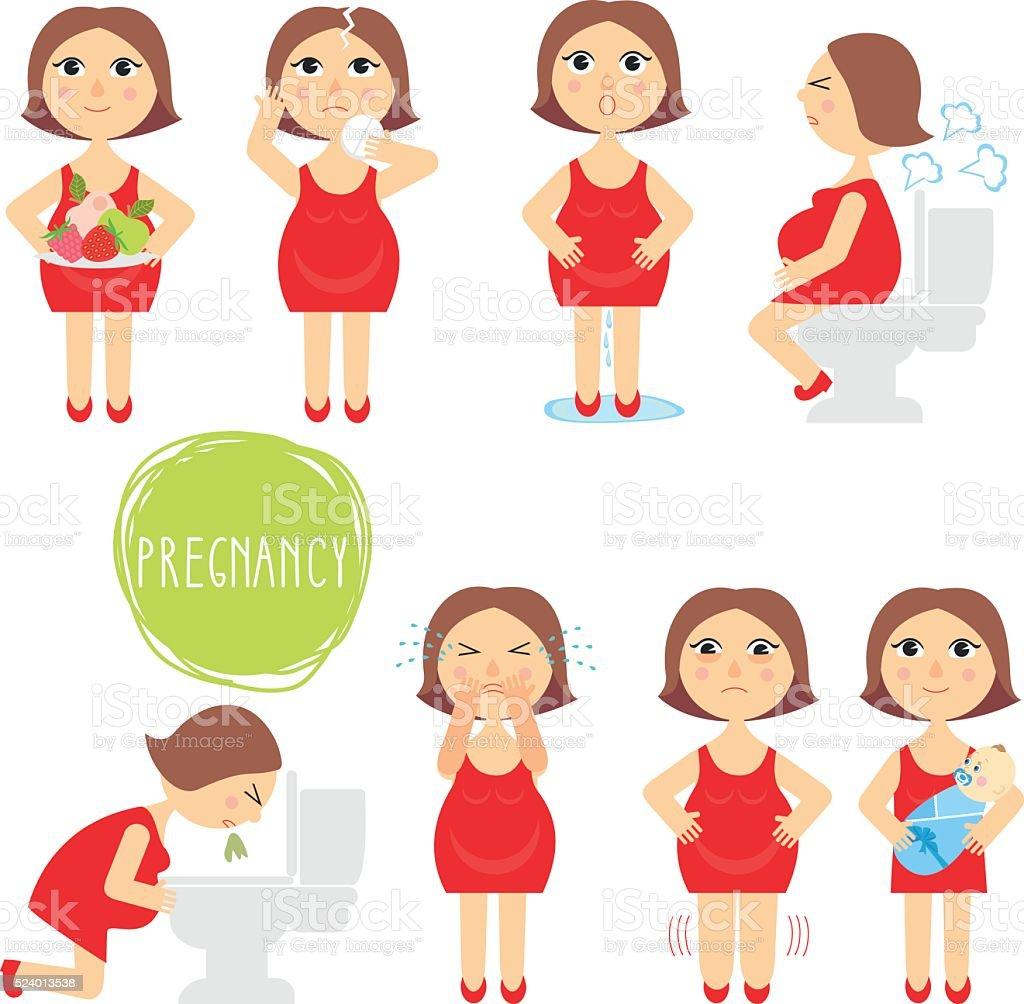 vector illustration signs of pregnancy symptoms