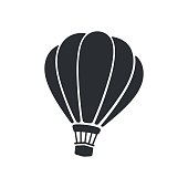 Vector illustration. Silhouette of hot air balloon. Air transport for travel. Isolated on white background