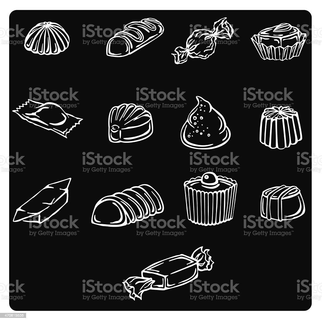 vector illustration silhouettes of chocolates vector art illustration