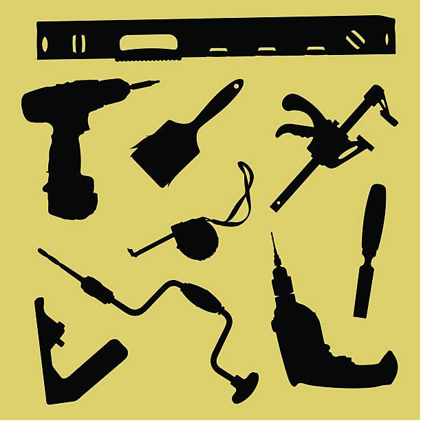 """vektor-illustration von """"silhouetten von tools» - kabelskulpturen stock-grafiken, -clipart, -cartoons und -symbole"""