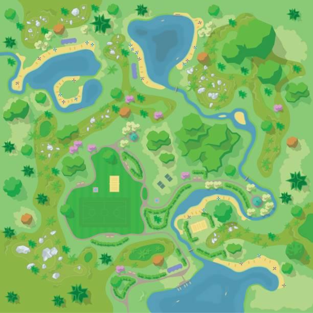 ベクトルの図。サイト改善フォレスト内の風景や観光キャンプ。(上面図)山、石、丘、川、木、植物、ボート、湖、ビーチ。(上から見た図)。地形のデザイン - 森林 俯瞰点のイラスト素材/クリップアート素材/マンガ素材/アイコン素材