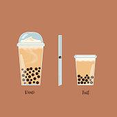 Vector tapioca pearl milk tea illustration. Included straw,Venti and Tall size.