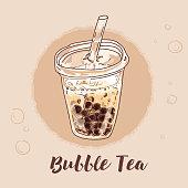 Vector tapioca pearl milk tea illustration.