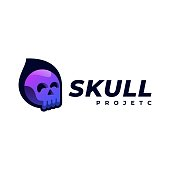 Vector Illustration Skull Gradient Colorful Style.