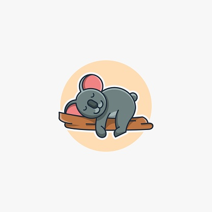 Vector Illustration Sleeping Koala Cute Cartoon.