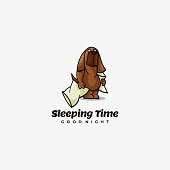 Vector Illustration Sleeping Time Simple Mascot Style.