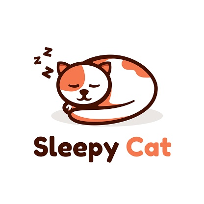 Vector Illustration Sleepy Cat Simple Mascot Style.
