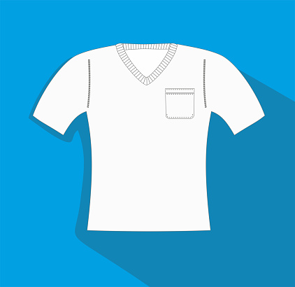 Vector illustration, Slimfit t-shirt with pocket, Clothes related, sweather vector flat Icon. Symbol.