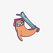 istock Vector Illustration Sloth Simple Mascot Style. 1264203550