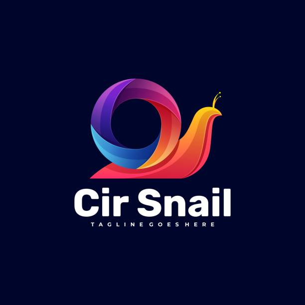 Vector Illustration Snail Gradient Colorful Style. Vector Illustration Snail Gradient Colorful Style. macrophotography stock illustrations