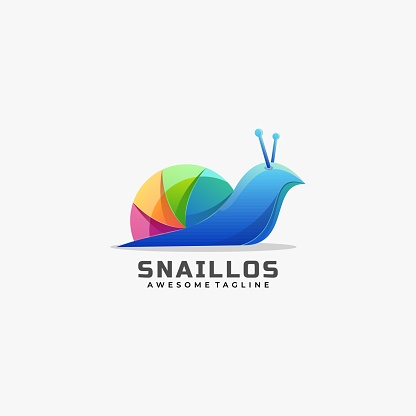 Vector Illustration Snail Gradient Colorful Style.