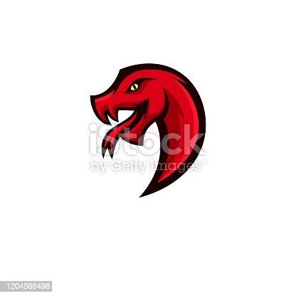 istock Vector Illustration Snake Head Simple Mascot Style. 1204565498