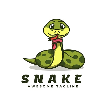 Vector Illustration Snake Simple Mascot Style.