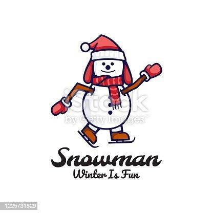 istock Vector Illustration Snowman Cute Cartoon Style. 1225731829