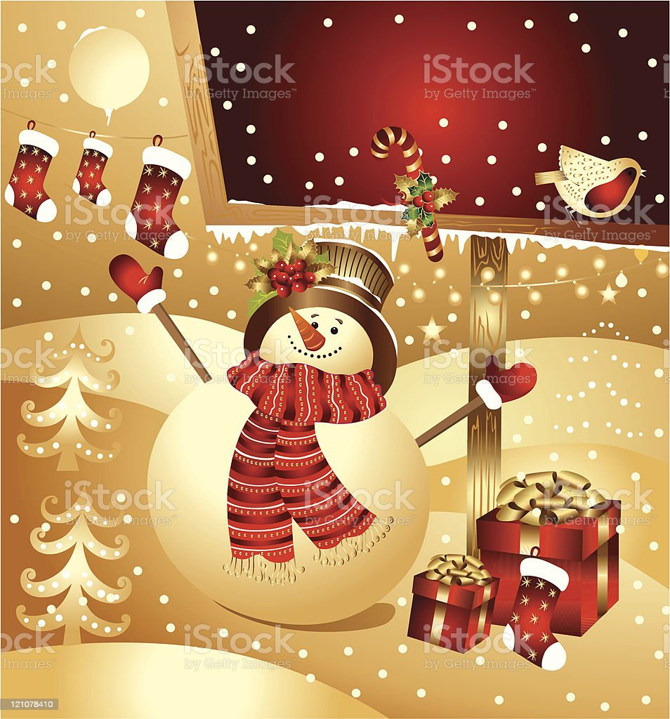 Vector illustration: snowman with gifts royalty-free stock vector art