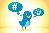 Vector illustration social network blue bird icon
