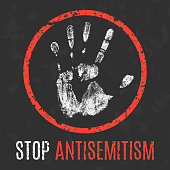 Vector illustration. Social problems of humanity. Stop antisemitism