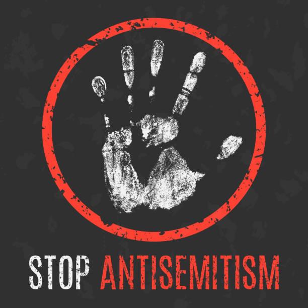 ilustrações de stock, clip art, desenhos animados e ícones de vector illustration. social problems of humanity. stop antisemitism. - furioso