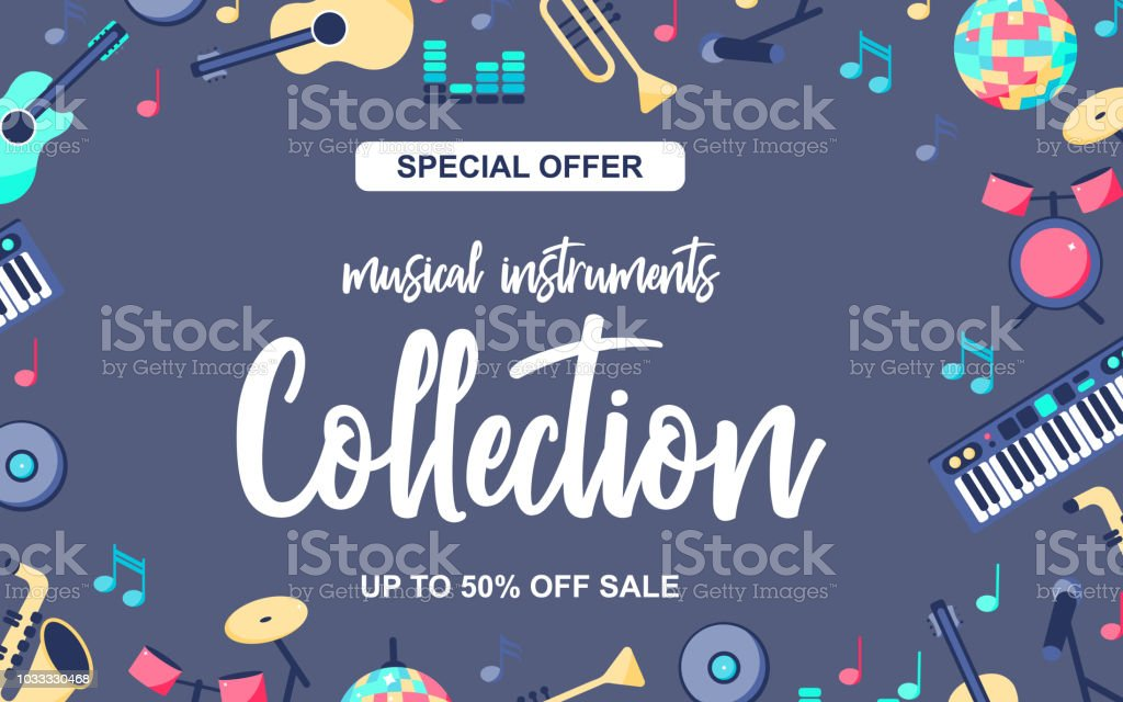 Vector Illustration. Special offer poster with musical instruments on grey blue background. Musical intstuments collection with word up to 50% off sale vector art illustration