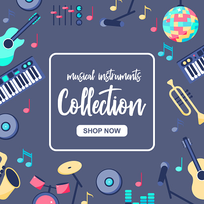 Vector Illustration. Special sale poster with musical instruments on grey blue background. Musica; intstuments collection with button shop now