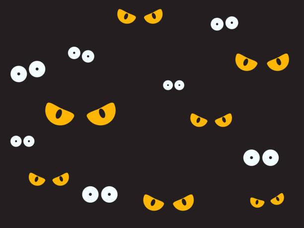 illustrazioni stock, clip art, cartoni animati e icone di tendenza di vector illustration spooky eyes in the dark background - halloween background - malvagità