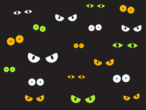 Vector illustration spooky eyes in the dark background - Halloween background