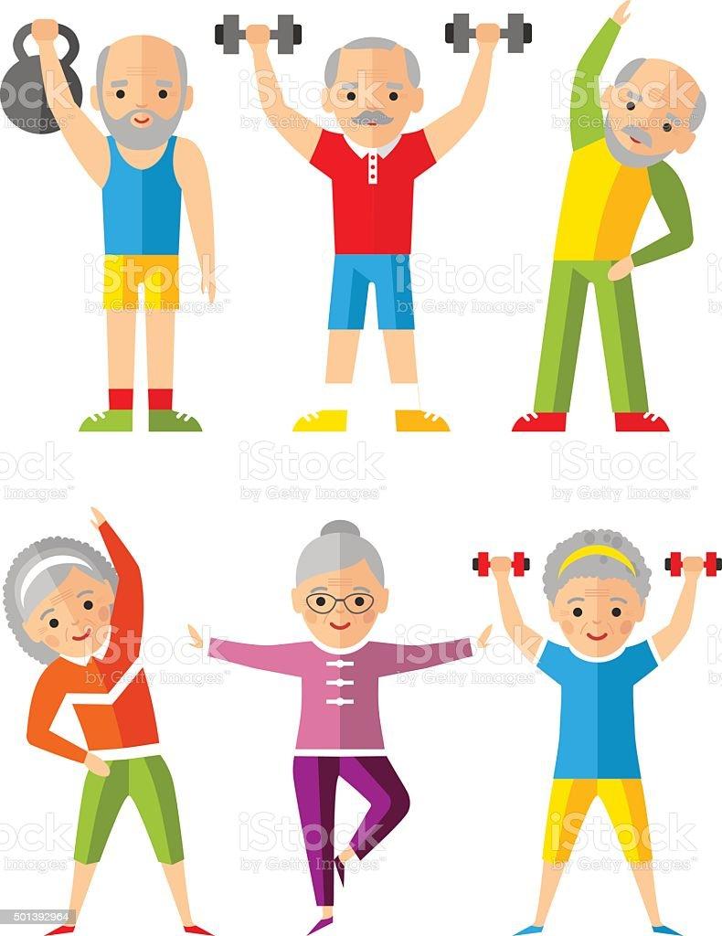 Ilustração em vetor de esporte saudável e atividades de lazer de idosos - ilustração de arte em vetor
