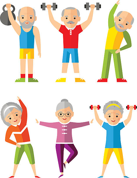 bildbanksillustrationer, clip art samt tecknat material och ikoner med vector illustration sport healthy and leisure old people activities - active senior