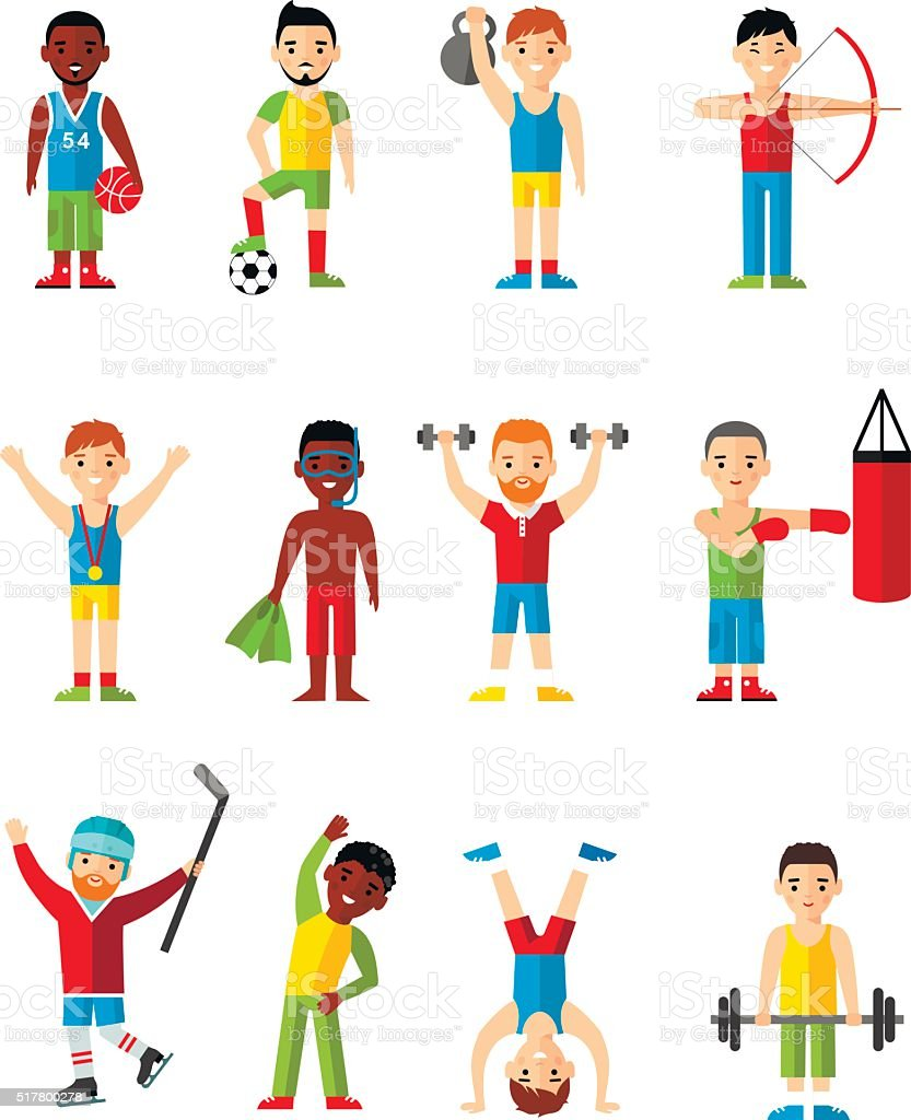 Vector illustration sport healthy leisure man. vector art illustration