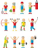 Vector illustration sport healthy leisure old african american man.
