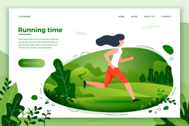 bildbanksillustrationer, clip art samt tecknat material och ikoner med vektorillustration - sportig flicka kör i park - jogging hill