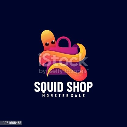 istock Vector Illustration Squid Shop Gradient Colorful Style. 1271668487