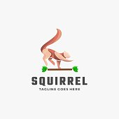 Vector Illustration Squirrel Gradient Colorful Style.