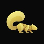 Vector Illustration Squirrel Jump Gradient Colorful Style.