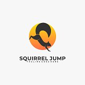 Vector Illustration Squirrel Jump Silhouette Style.