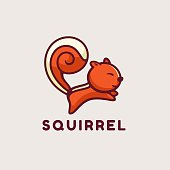 Vector Illustration Squirrel Simple Mascot Style.
