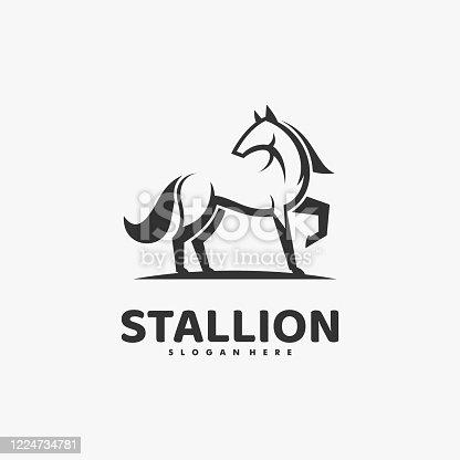 istock Vector Illustration Stallion Line Art Style. 1224734781