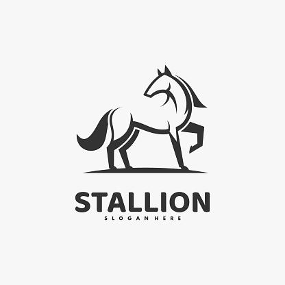 Vector Illustration Stallion Line Art Style.