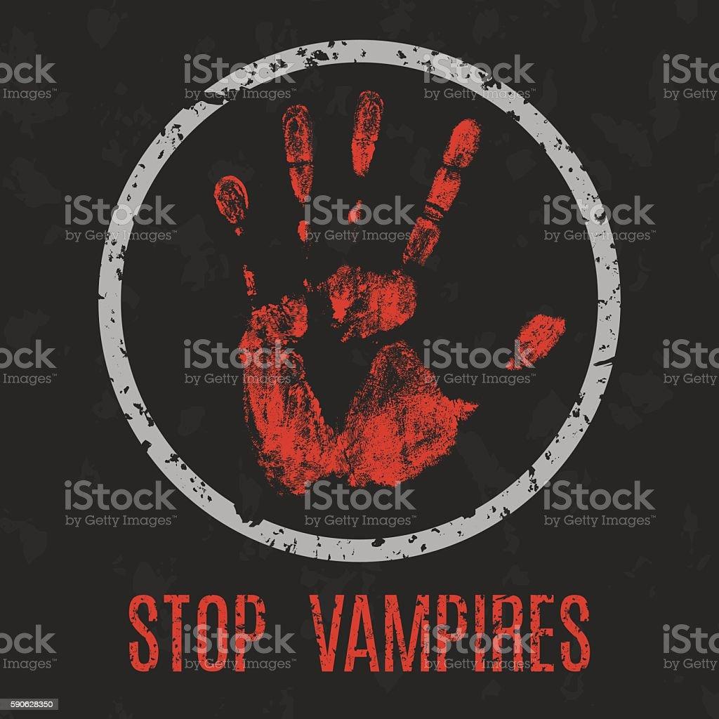 Vector illustration. Stop vampires. vector art illustration