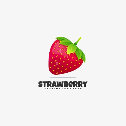 Vector Illustration Strawberry Gradient Colorful Style.