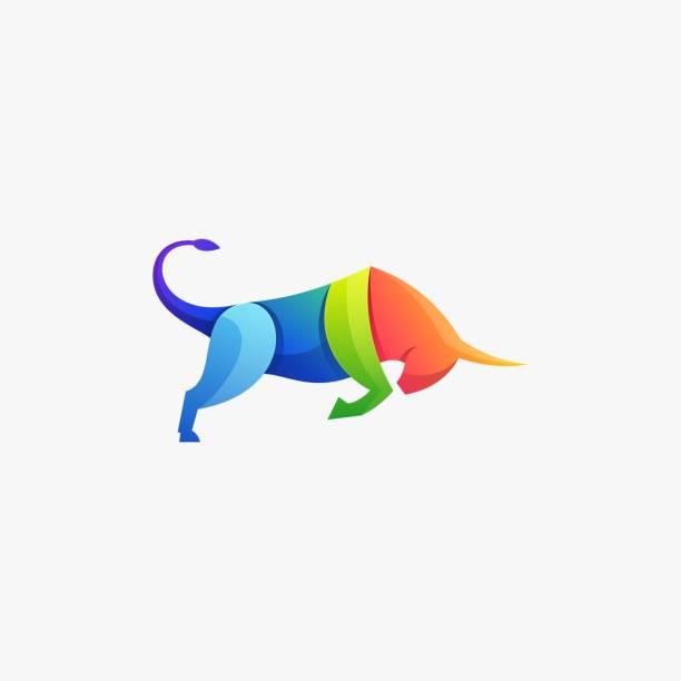 illustrazioni stock, clip art, cartoni animati e icone di tendenza di illustrazione vettoriale forte toro sfumatura stile colorato. - box name