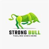 istock Vector Illustration Strong Bull Gradient Colorful Style. 1267456795