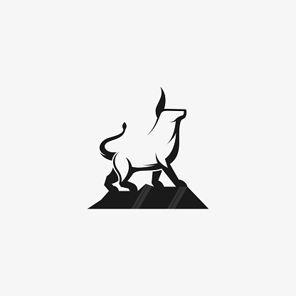 Vector Illustration Strong Bull Simple Mascot Style