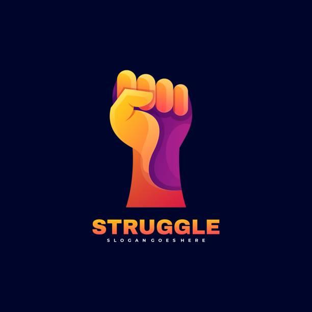 Vector Illustration Struggle Gradient Colorful Style. Vector Illustration Struggle Gradient Colorful Style. human finger stock illustrations