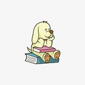 Vector Illustration Student Dog Mascot Cartoon Style.