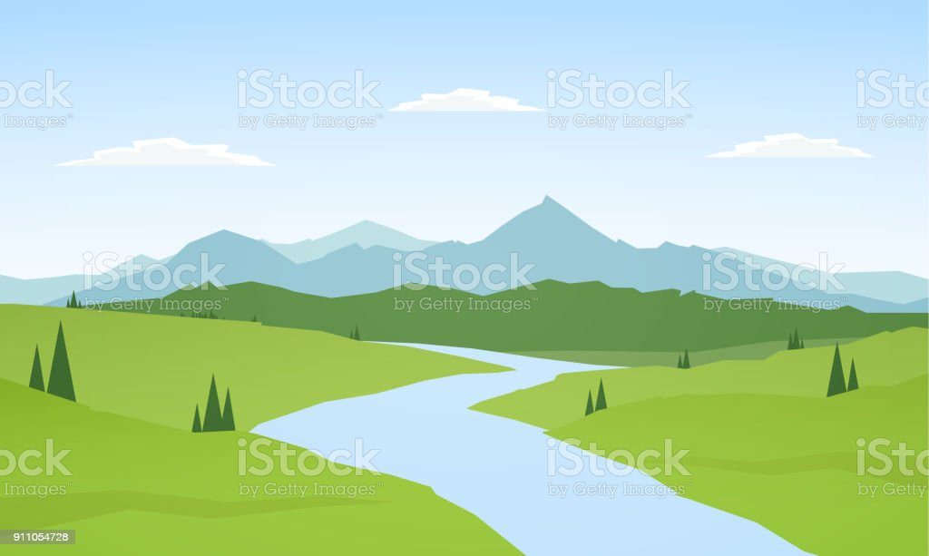 Vector illustration: Summer mountains landscape with river on foreground.